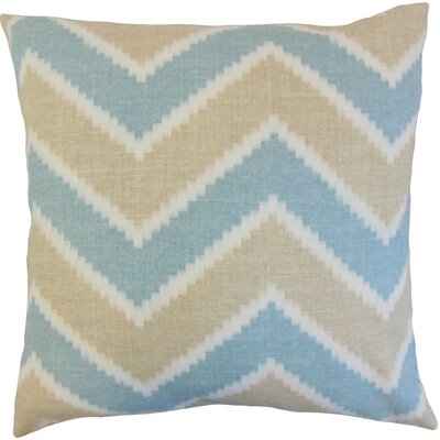 Hoku Zigzag Linen Throw Pillow Cover Color: Surf