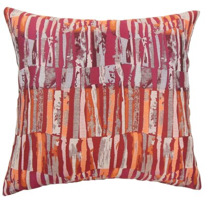 Prunella Stripes Throw Pillow Cover Color: Crimson