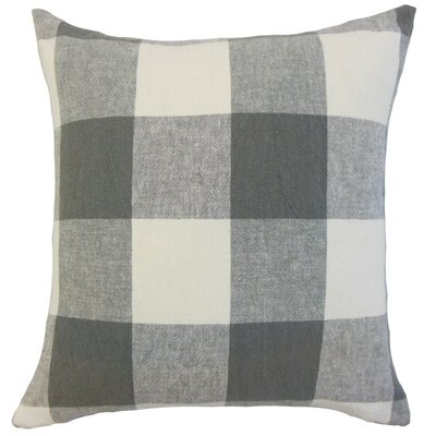Amory Plaid Throw Pillow Cover Color: Coal