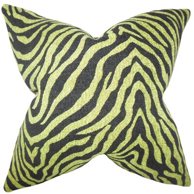Grady Zebra Print Throw Pillow Cover Color: Green