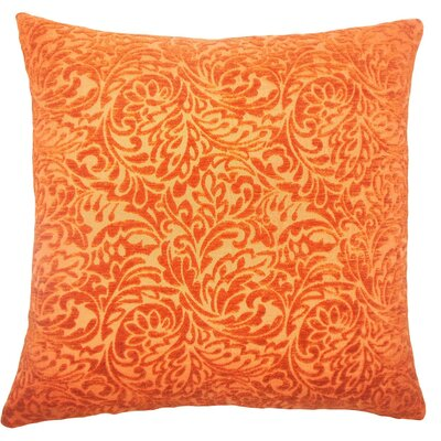 Taline Damask Throw Pillow Size: 18 x 18, Color: Tangerine