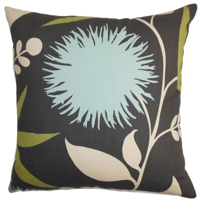 Huberta Floral Bedding Sham Size: King, Color: Black/Blue