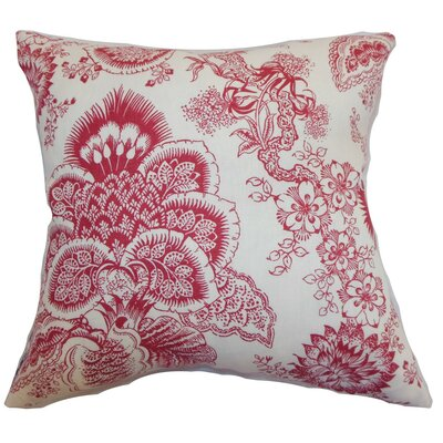 Paionia Floral Bedding Sham Size: Euro, Color: Red