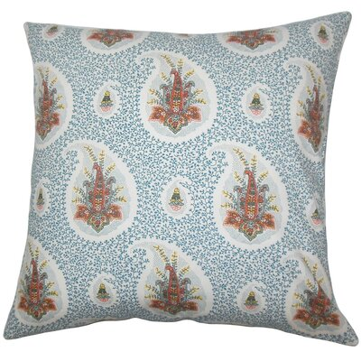 Zaci Floral Cotton Throw Pillow Size: 18 x 18, Color: Lapis