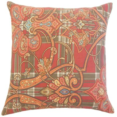 Magee Cotton Throw Pillow Color: Cranberry, Size: 18 x 18