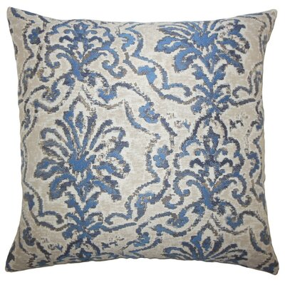 Zain Damask Throw Pillow Color: Blue, Size: 22 x 22