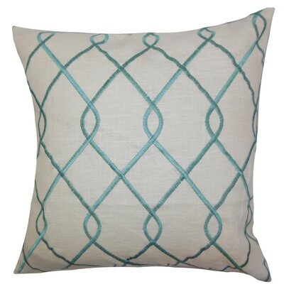Jolo Geometric Bedding Sham Size: King, Color: Aqua Blue