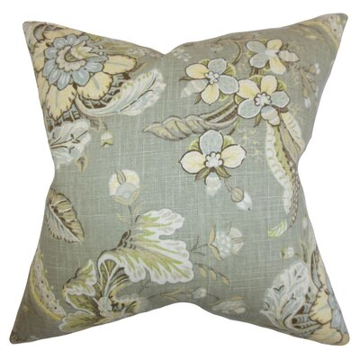 Eluned Floral Throw Pillow Color: Grey, Size: 22 x 22