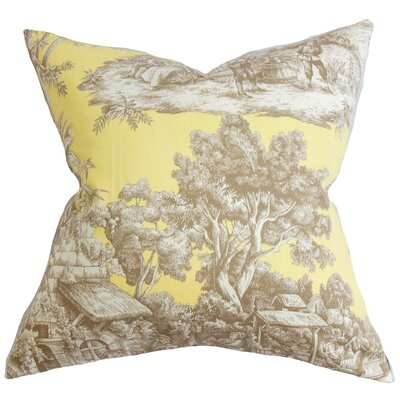 Evlia Toile Cotton Throw Pillow Color: Yellow, Size: 20 x 20