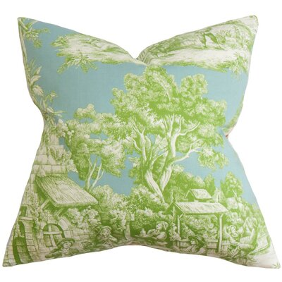 Evlia Toile Cotton Throw Pillow Color: Aqua Green, Size: 24 x 24