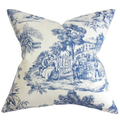 Chalgrave Toile Cotton Throw Pillow Color: Blue, Size: 24 x 24