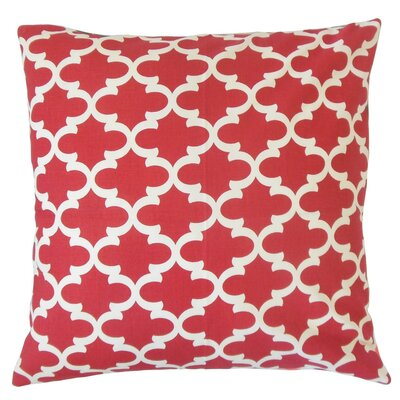 Vilayna Cotton Throw Pillow Color: Red, Size: 18 x 18