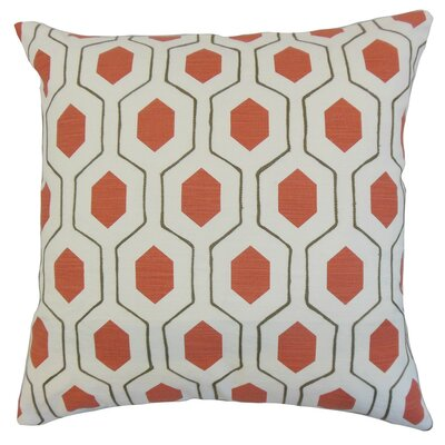 Flynn Geometric Bedding Sham Size: King, Color: Poppy