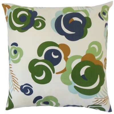 Riyaz Cotton Throw Pillow Color: Ultramarine, Size: 18 x 18