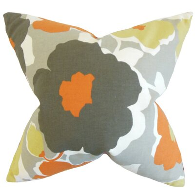 Saar Cotton Throw Pillow Color: Orange, Size: 18 x 18