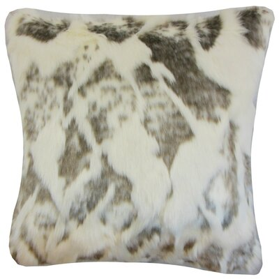 Valeska Faux Fur Throw Pillow Color: Ivory, Size: 24 x 24
