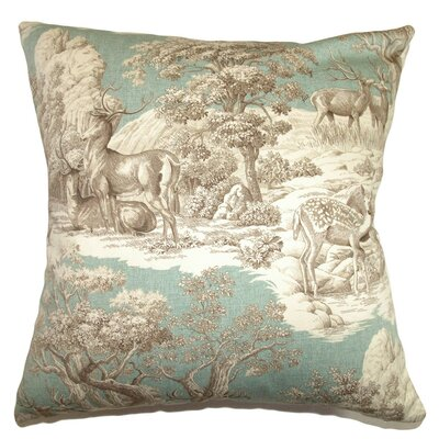 Elijah Toile Cotton Throw Pillow Cover Size: 18 x 18, Color: Safari
