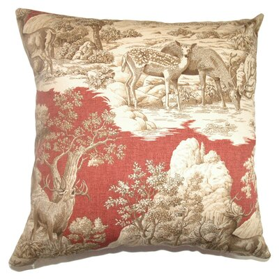 Elijah Toile Cotton Throw Pillow Cover Size: 18 x 18, Color: Redwood