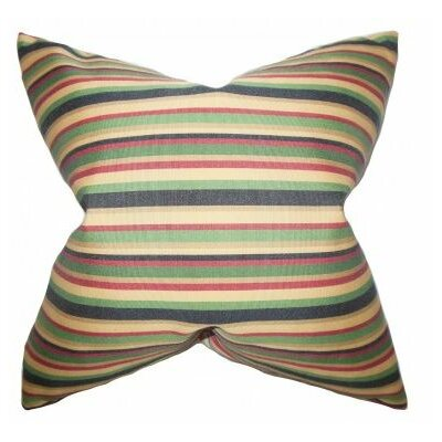 Libby Stripes Cotton Throw Pillow Cover Color: Midnight
