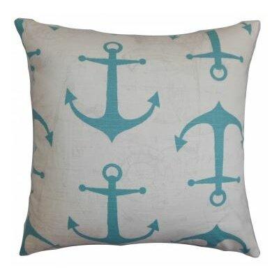 Enye Coastal Cotton Throw Pillow Cover Color: Blue White P18FLAT-PP-ANCHORS-COASTALBLUE-C10
