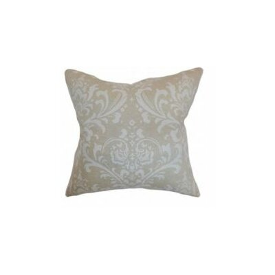 Olavarria Damask Cotton Throw Pillow Cover Color: Cloud Linen