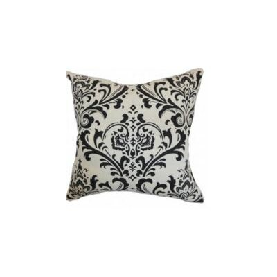 Olavarria Damask Cotton Throw Pillow Cover Color: Black White
