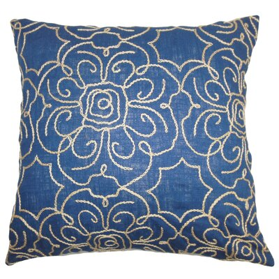 Chalda Floral Throw Pillow Cover Size: 18 x 18, Color: Indigo