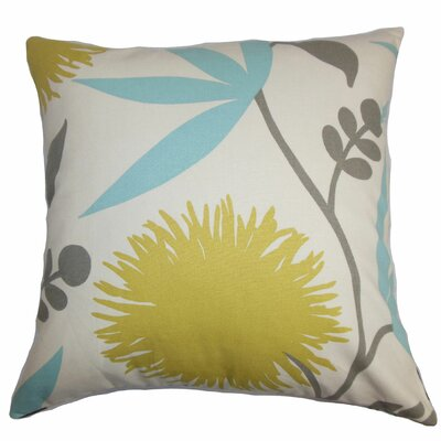 Huberta Floral Cotton Throw Pillow Cover Color: Yellow Blue