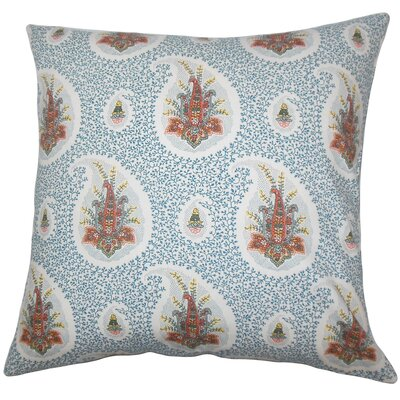 Zaci Floral Cotton Throw Pillow Cover Color: Lapis