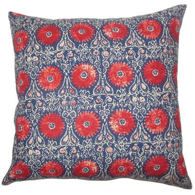 Xaria Floral Bedding Sham Size: King, Color: Red Blue