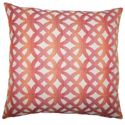 Heulwen Geometric Bedding Sham Color: Coral, Size: King