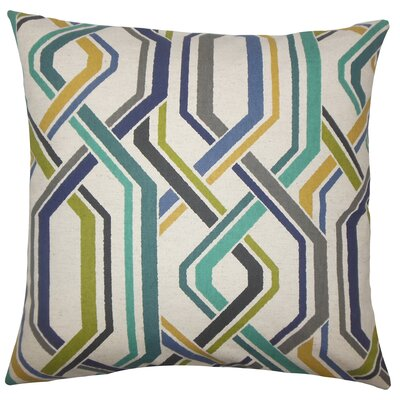 Jax Geometric Bedding Sham Size: King, Color: Baltic