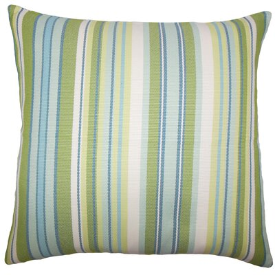 Urbaine Striped Burlap Throw Pillow Cover Size: 18 x 18, Color: Blue Green