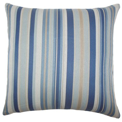 Urbaine Striped Burlap Throw Pillow Cover Size: 18 x 18, Color: Blue Brown