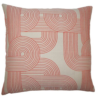 Utara Geometric Bedding Sham Size: Queen, Color: Tangerine