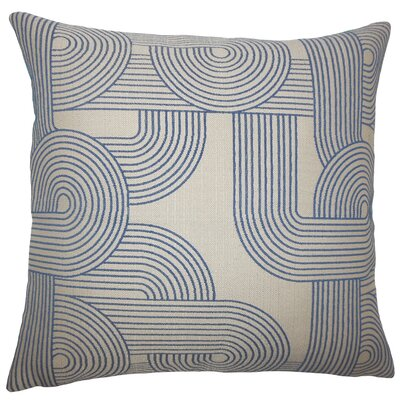 Utara Geometric Bedding Sham Size: King, Color: Navy