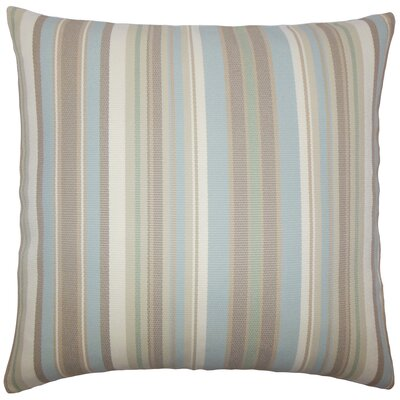 Urbaine Striped Burlap Throw Pillow Cover Size: 18 x 18, Color: Natural Blue