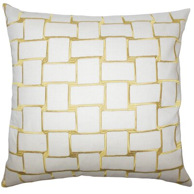 Kalyca Geometric Bedding Sham Size: King, Color: Yellow
