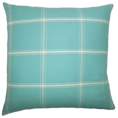 Sabriyya Plaid Cotton Throw Pillow Cover Size: 18 x 18, Color: Aegean