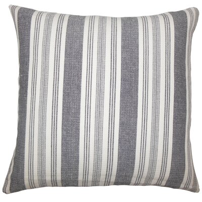 Reiki Striped Cotton Pillow Cover Color: Black