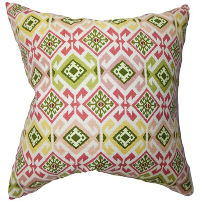 Ealhhun Geometric Bedding Sham Size: King, Color: Pink/Green