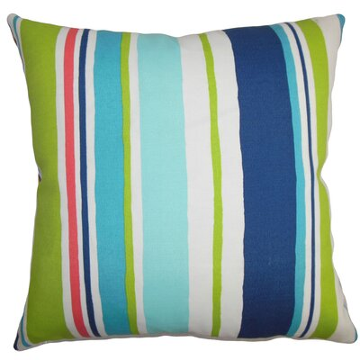 Ibbie Stripes Throw Pillow Cover Color: Turquoise Blue