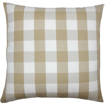 Nelson Plaid Cotton Throw Pillow Size: 20 H x 20 W x 5 D, Color: Khaki