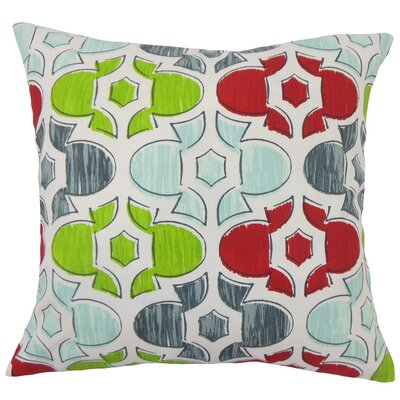 Bhayva Geometric Cotton Throw Pillow Size: 18 H x 18 W x 5 D, Color: Holiday