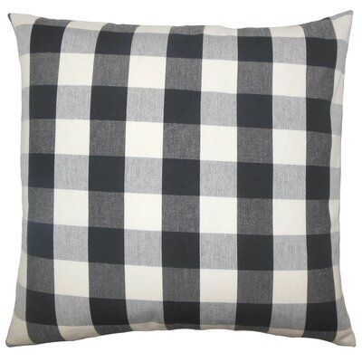 Nelson Plaid Cotton Throw Pillow Size: 18 H x 18 W x 5 D, Color: Black / White