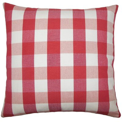Nelson Plaid Cotton Throw Pillow Size: 18 H x 18 W x 5 D, Color: Cherry
