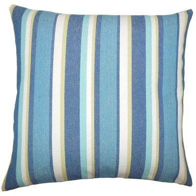 Reiki Striped Cotton Throw Pillow Size: 18 H x 18 W x 5 D, Color: Caribbean