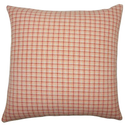 Quora Plaid Cotton Throw Pillow Size: 18 H x 18 W x 5 D, Color: Orange