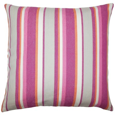 Reiki Striped Cotton Throw Pillow Size: 18 H x 18 W x 5 D, Color: Berry