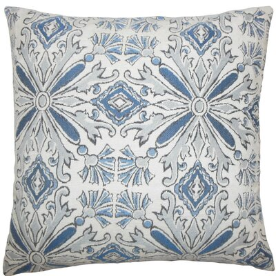 Esadowa Damask Throw Pillow Size: 18 H x 18 W x 5 D, Color: Chambray